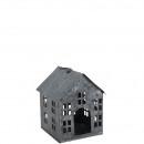 Maison de zinc Adara, large, D17cm, H20cm, gris